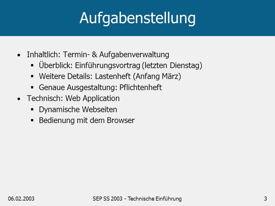 06.02.2003SEP SS 2003 - Technische Einführung3 Aufgabenstellung Inhaltlich: Termin- & Aufgabenverwaltung Überblick: Einführungsvortrag (letzten Dienst