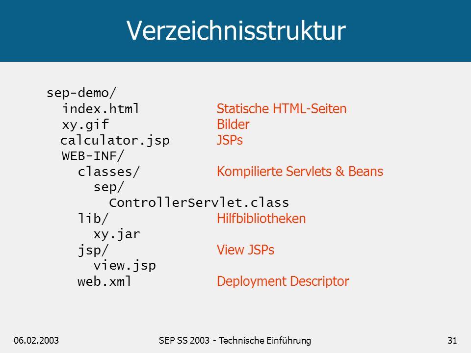 06.02.2003SEP SS 2003 - Technische Einführung32 Deployment Descriptor (web.xml) <!DOCTYPE web-app PUBLIC -//Sun Microsystems, Inc.//DTD Web Application 2.3//EN http://java.sun.com/dtd/web-app_2_3.dtd > …