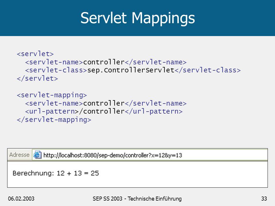 06.02.2003SEP SS 2003 - Technische Einführung33 Servlet Mappings controller sep.ControllerServlet controller /controller