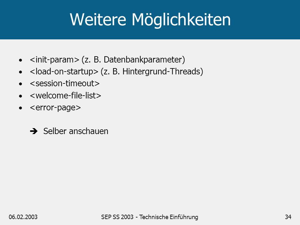 06.02.2003SEP SS 2003 - Technische Einführung34 Weitere Möglichkeiten (z. B. Datenbankparameter) (z. B. Hintergrund-Threads) Selber anschauen