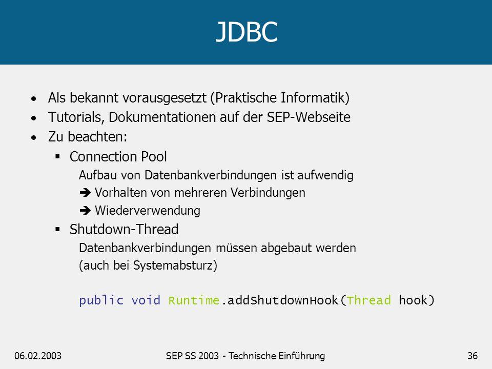 06.02.2003SEP SS 2003 - Technische Einführung37 Tools Java 2 SDK 1.4.1_01 Tomcat 4.1.18 Ant 1.5.1 JDBC 2.0 HTML 4.01 oder XHTML 1.0 CSS CVS LaTeX (empfohlen) Junit JavaMail Together/Borland Control Center