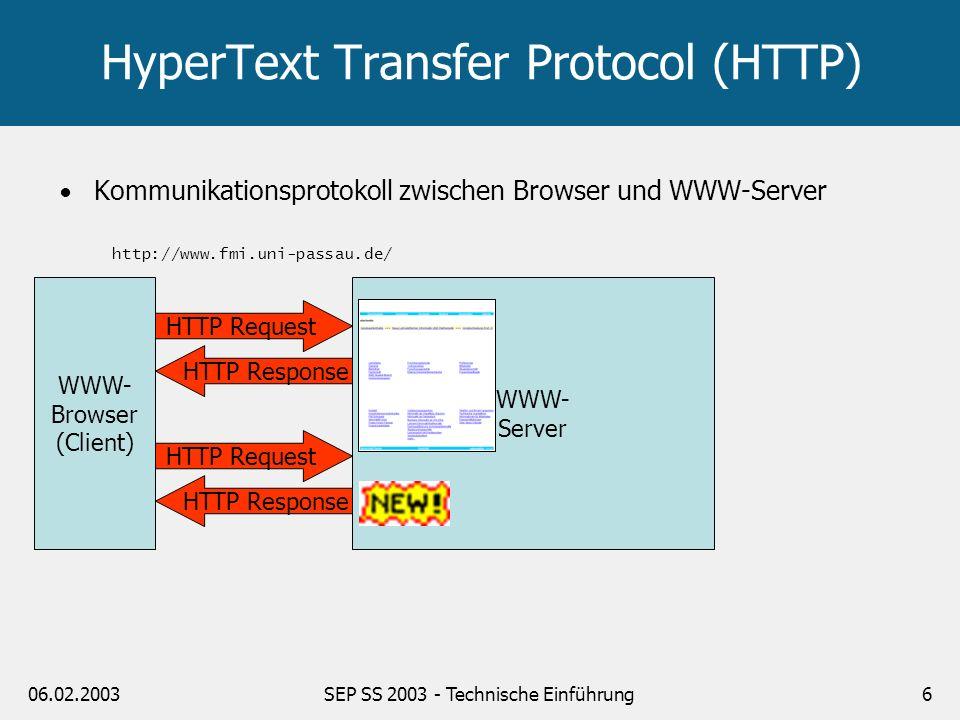 06.02.2003SEP SS 2003 - Technische Einführung6 HyperText Transfer Protocol (HTTP) WWW- Browser (Client) HTTP Request HTTP Response WWW- Server http://