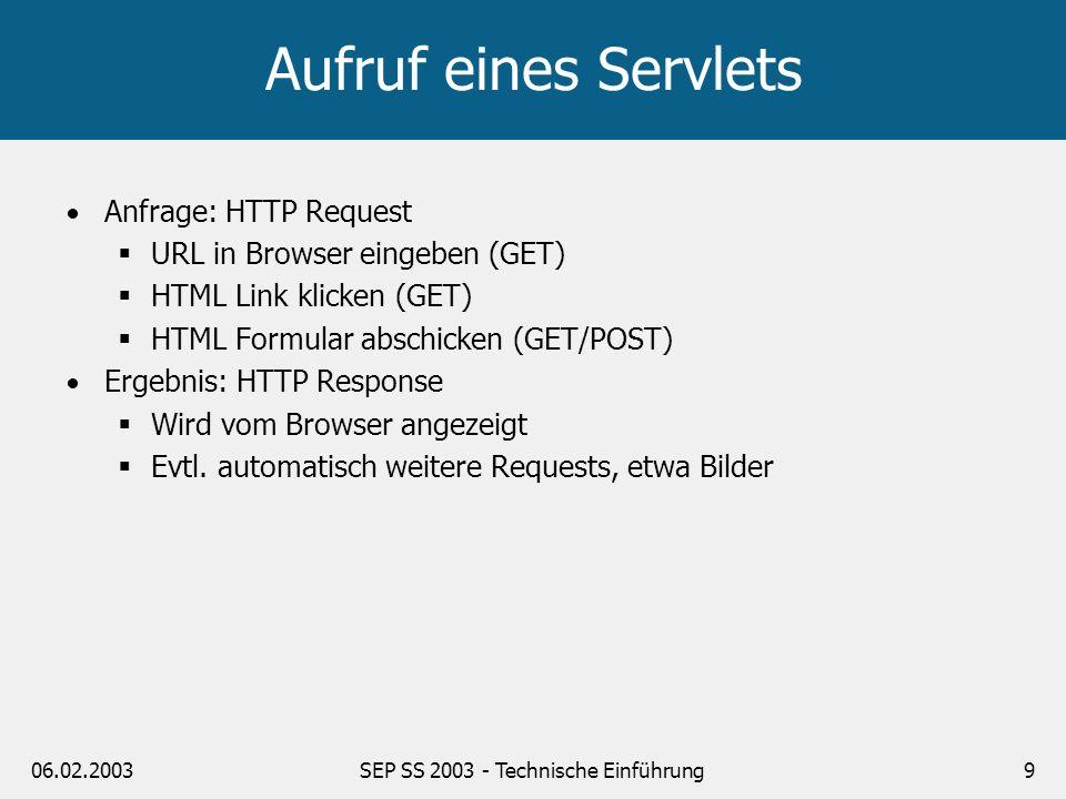 06.02.2003SEP SS 2003 - Technische Einführung9 Aufruf eines Servlets Anfrage: HTTP Request URL in Browser eingeben (GET) HTML Link klicken (GET) HTML