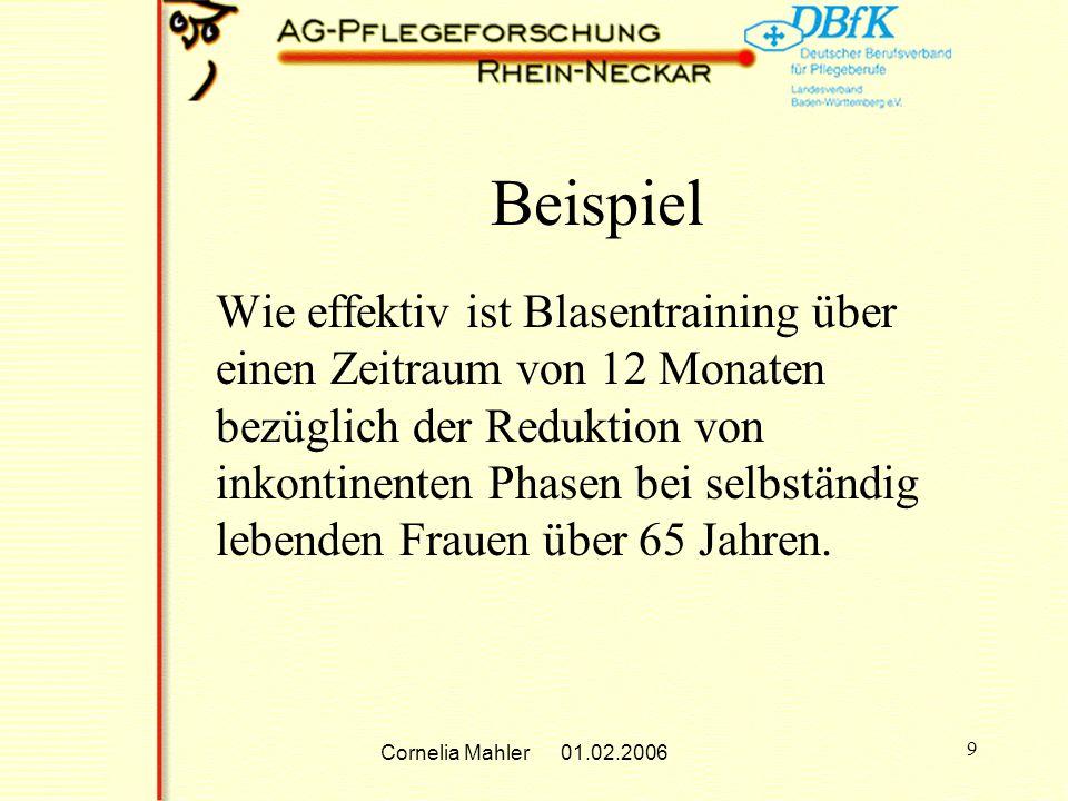 Cornelia Mahler 01.02.2006 9 Beispiel Wie effektiv ist Blasentraining über einen Zeitraum von 12 Monaten bezüglich der Reduktion von inkontinenten Phasen bei selbständig lebenden Frauen über 65 Jahren.