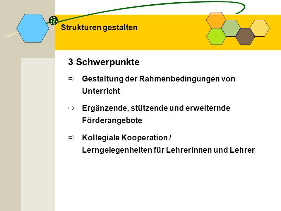 3 Schwerpunkte Gestaltung der Rahmenbedingungen von Unterricht Ergänzende, stützende und erweiternde Förderangebote Kollegiale Kooperation / Lerngeleg