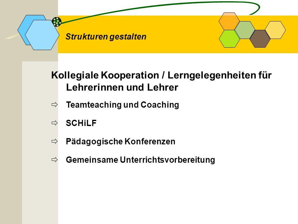 Kollegiale Kooperation / Lerngelegenheiten für Lehrerinnen und Lehrer Teamteaching und Coaching SCHiLF Pädagogische Konferenzen Gemeinsame Unterrichts
