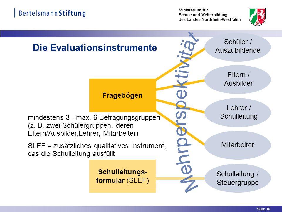 Seite 10 Die Evaluationsinstrumente mindestens 3 - max. 6 Befragungsgruppen (z. B. zwei Schülergruppen, deren Eltern/Ausbilder,Lehrer, Mitarbeiter) SL