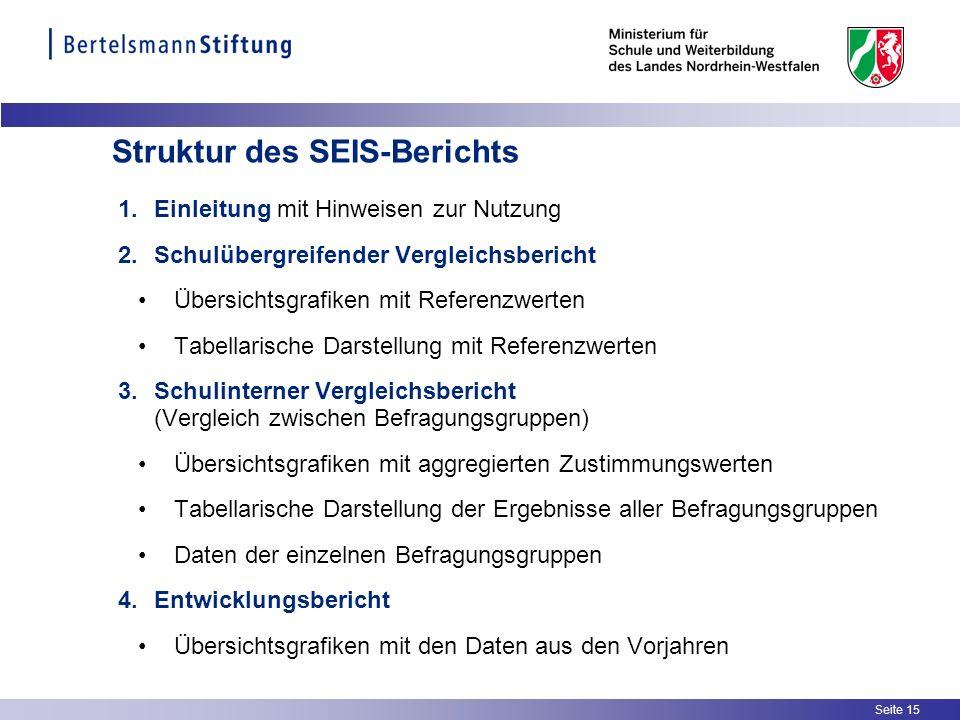 Seite 15 Struktur des SEIS-Berichts 1.Einleitung mit Hinweisen zur Nutzung 2.Schulübergreifender Vergleichsbericht Übersichtsgrafiken mit Referenzwert