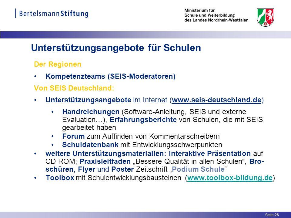 Seite 26 Der Regionen Kompetenzteams (SEIS-Moderatoren) Von SEIS Deutschland: Unterstützungsangebote im Internet (www.seis-deutschland.de) Handreichun