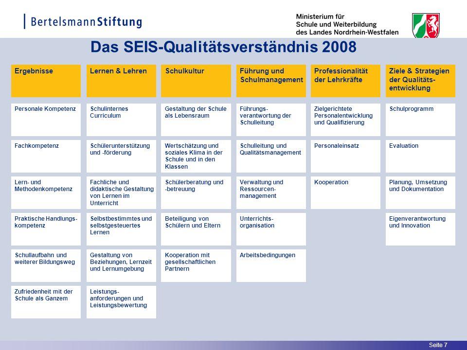 Seite 7 Das SEIS-Qualitätsverständnis 2008 ErgebnisseLernen & Lehren Praktische Handlungs- kompetenz Personale Kompetenz Fachkompetenz Lern- und Metho