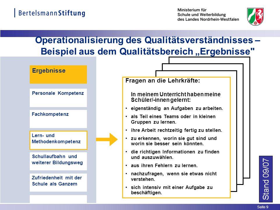 Seite 9 Operationalisierung des Qualitätsverständnisses – Beispiel aus dem Qualitätsbereich Ergebnisse