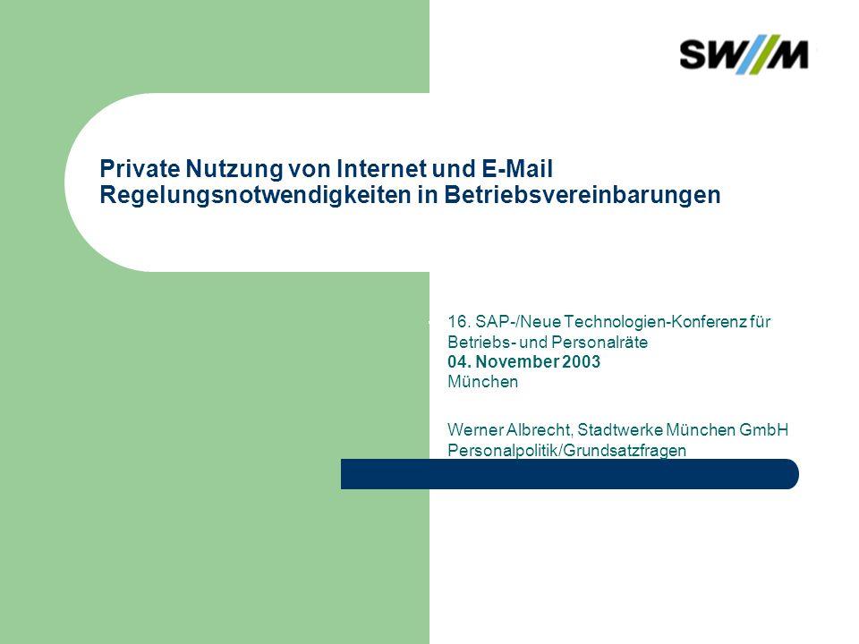 Werner Albrecht, P-P-G 12 Alternative 1 Ausdrückliches Verbot der Privatnutzung von E-Mail und Internet (inklusive Kontrolle des Verbotes) Keine Einschränkung von Protokollierung und Kontrolle durch TKG, TDSV, TDG, TDDSG, kein Fernmeldegeheimnis in der betrieblichen Kommunikation Es greifen die Regelungen des BDSG