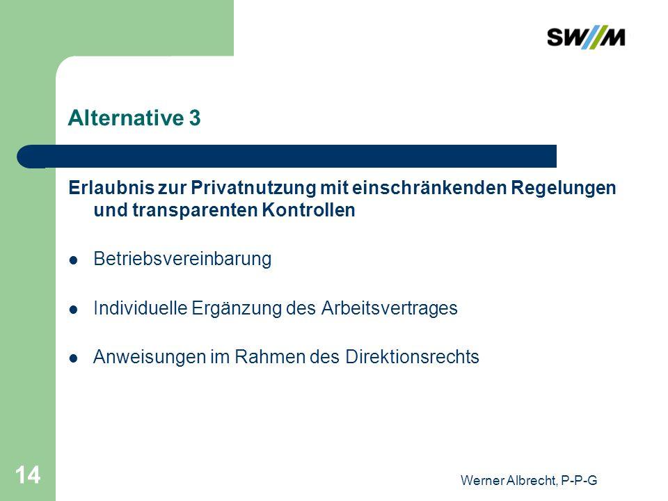 Werner Albrecht, P-P-G 14 Alternative 3 Erlaubnis zur Privatnutzung mit einschränkenden Regelungen und transparenten Kontrollen Betriebsvereinbarung I