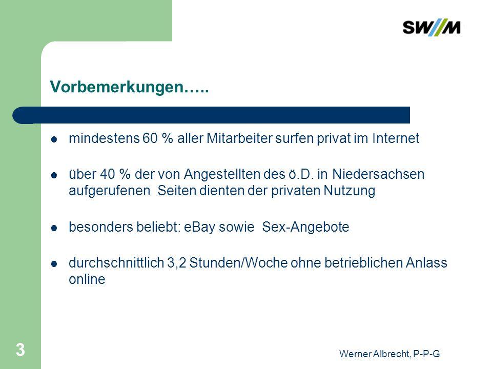 Werner Albrecht, P-P-G 3 Vorbemerkungen….. mindestens 60 % aller Mitarbeiter surfen privat im Internet über 40 % der von Angestellten des ö.D. in Nied