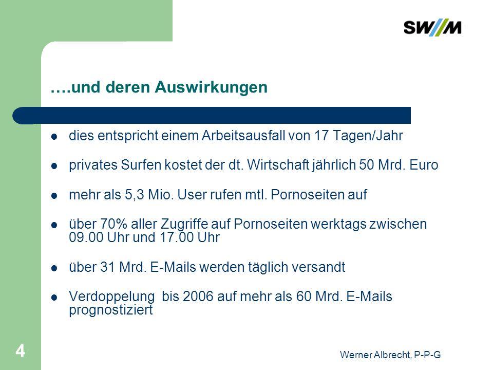 Werner Albrecht, P-P-G 15 Unternehmerische Gesichtspunkte Sicherheit der Kommunikation Wahrung von Betriebsgeheimnissen Garantierte Bearbeitung von E-Mail-basierten Geschäftsvorfällen Gesetzeskonforme Nutzung der Kommunikationsmittel Wahrung berechtigter Interessen der Geschäftspartner Wahrung berechtigter Interessen der Arbeitnehmer Wahrung gewachsener (konfliktfreier) betrieblicher Übungen (Unternehmenskultur) Die Zulassung privater E-Mail und Internetnutzung ist eine unternehmerische Entscheidung