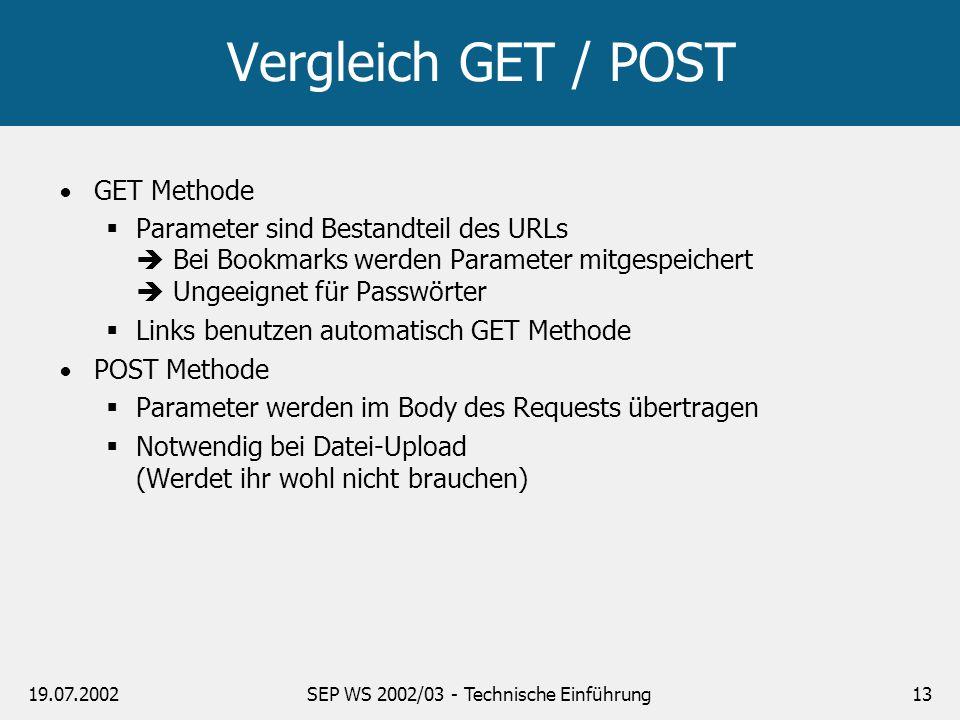 19.07.2002SEP WS 2002/03 - Technische Einführung13 Vergleich GET / POST GET Methode Parameter sind Bestandteil des URLs Bei Bookmarks werden Parameter