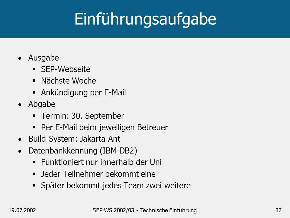 19.07.2002SEP WS 2002/03 - Technische Einführung37 Einführungsaufgabe Ausgabe SEP-Webseite Nächste Woche Ankündigung per E-Mail Abgabe Termin: 30. Sep