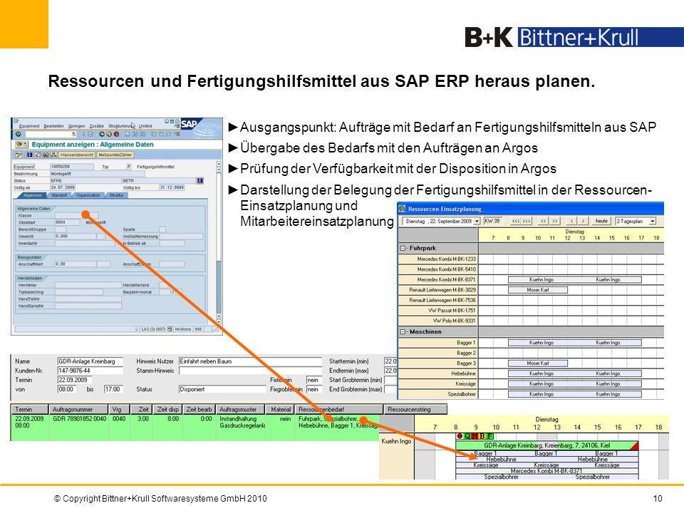 © Copyright Bittner+Krull Softwaresysteme GmbH 201010 Ressourcen und Fertigungshilfsmittel aus SAP ERP heraus planen. Ausgangspunkt: Aufträge mit Beda