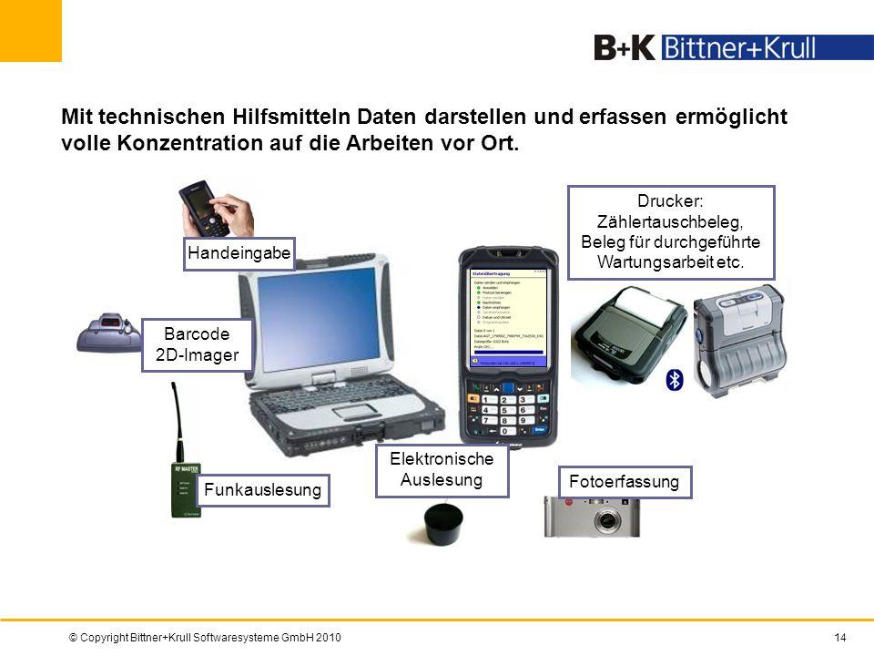© Copyright Bittner+Krull Softwaresysteme GmbH 201014 Mit technischen Hilfsmitteln Daten darstellen und erfassen ermöglicht volle Konzentration auf di