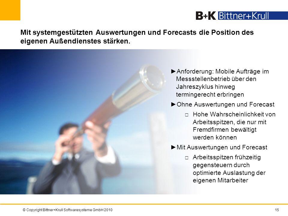 © Copyright Bittner+Krull Softwaresysteme GmbH 201015 Mit systemgestützten Auswertungen und Forecasts die Position des eigenen Außendienstes stärken.