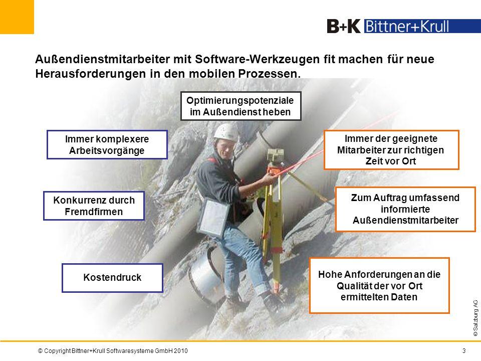 © Copyright Bittner+Krull Softwaresysteme GmbH 20103 Immer komplexere Arbeitsvorgänge © Salzburg AG Hohe Anforderungen an die Qualität der vor Ort erm