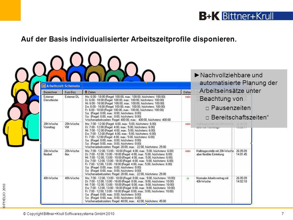 © Copyright Bittner+Krull Softwaresysteme GmbH 20107 Auf der Basis individualisierter Arbeitszeitprofile disponieren. © PIXELIO 2010 Bild der aktuelle