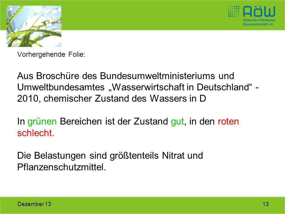 13Dezember 13 Vorhergehende Folie: Aus Broschüre des Bundesumweltministeriums und Umweltbundesamtes Wasserwirtschaft in Deutschland - 2010, chemischer