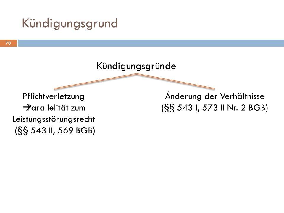 Kündigungsgrund 70 Kündigungsgründe Pflichtverletzung Parallelität zum Leistungsstörungsrecht (§§ 543 II, 569 BGB) Änderung der Verhältnisse (§§ 543 I