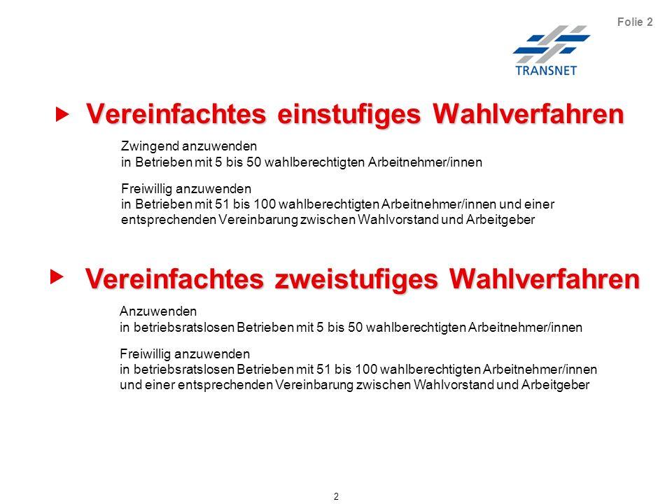Vereinfachtes einstufiges Wahlverfahren 63 Folie 63 Das vereinfachte zweistufige Wahlverfahren wird durchgeführt in Betrieben ohne Betriebsrat.