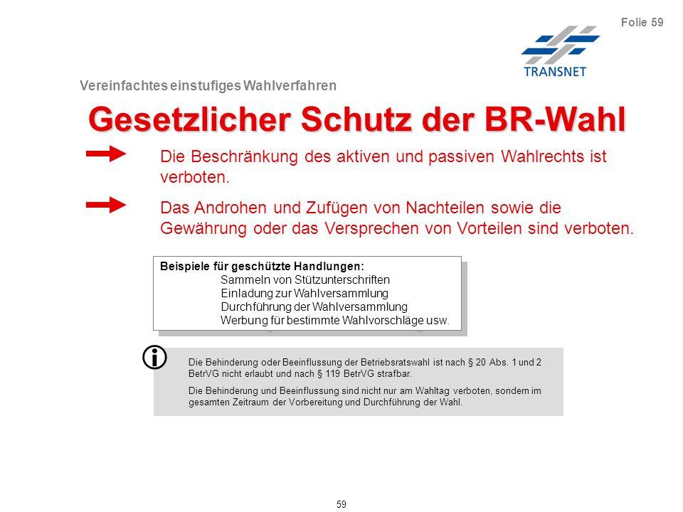 Vereinfachtes einstufiges Wahlverfahren 59 Folie 59 Gesetzlicher Schutz der BR-Wahl Beispiele für geschützte Handlungen: Sammeln von Stützunterschrift