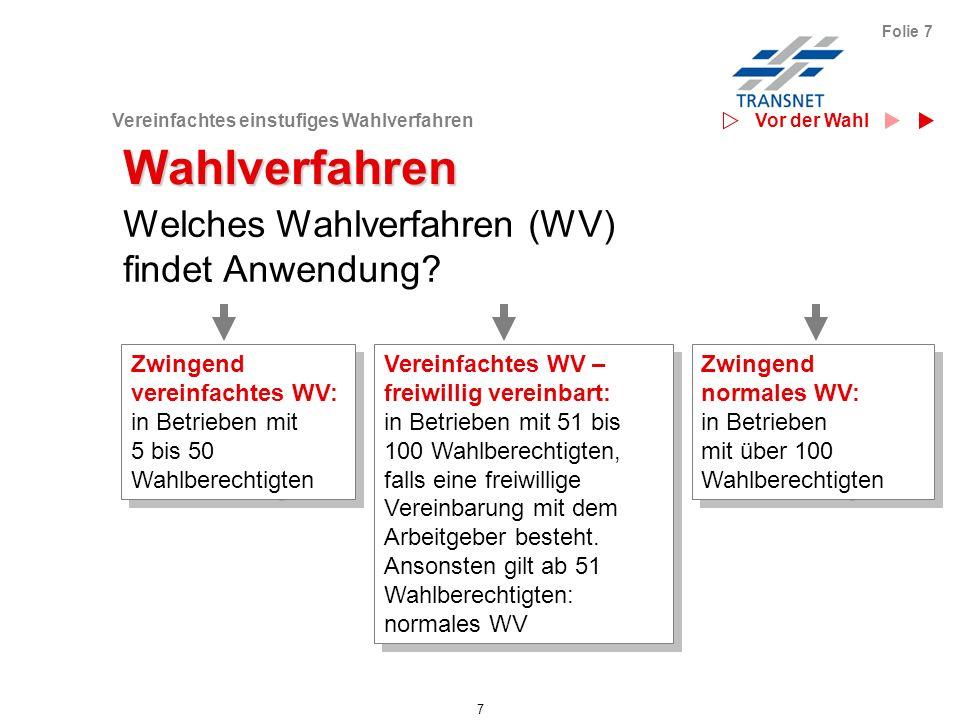Vereinfachtes einstufiges Wahlverfahren 7 Folie 7 Welches Wahlverfahren (WV) findet Anwendung? Wahlverfahren Zwingend vereinfachtes WV: in Betrieben m