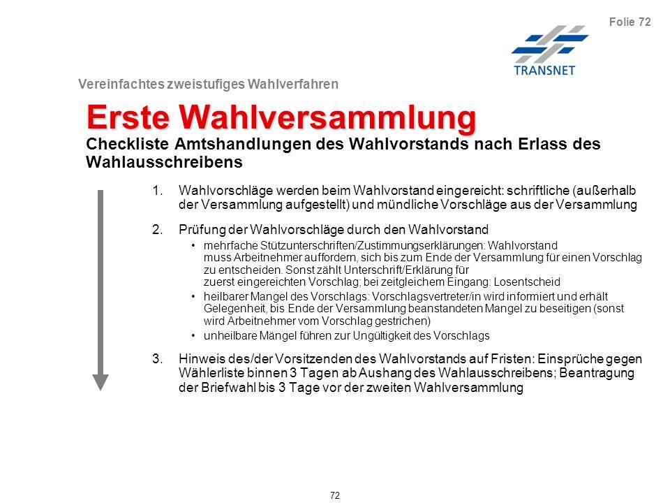 Vereinfachtes einstufiges Wahlverfahren 72 Folie 72 Erste Wahlversammlung Checkliste Amtshandlungen des Wahlvorstands nach Erlass des Wahlausschreiben