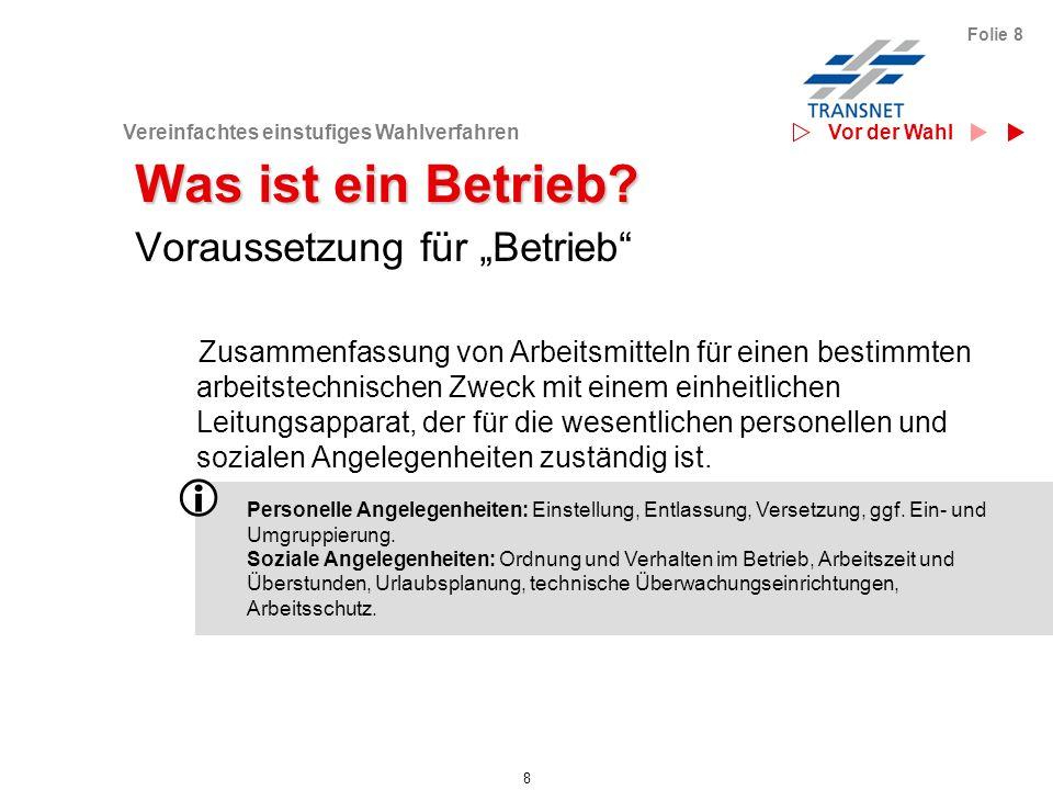 Vereinfachtes einstufiges Wahlverfahren 39 Folie 39 Der Wahlvorstand organisiert...