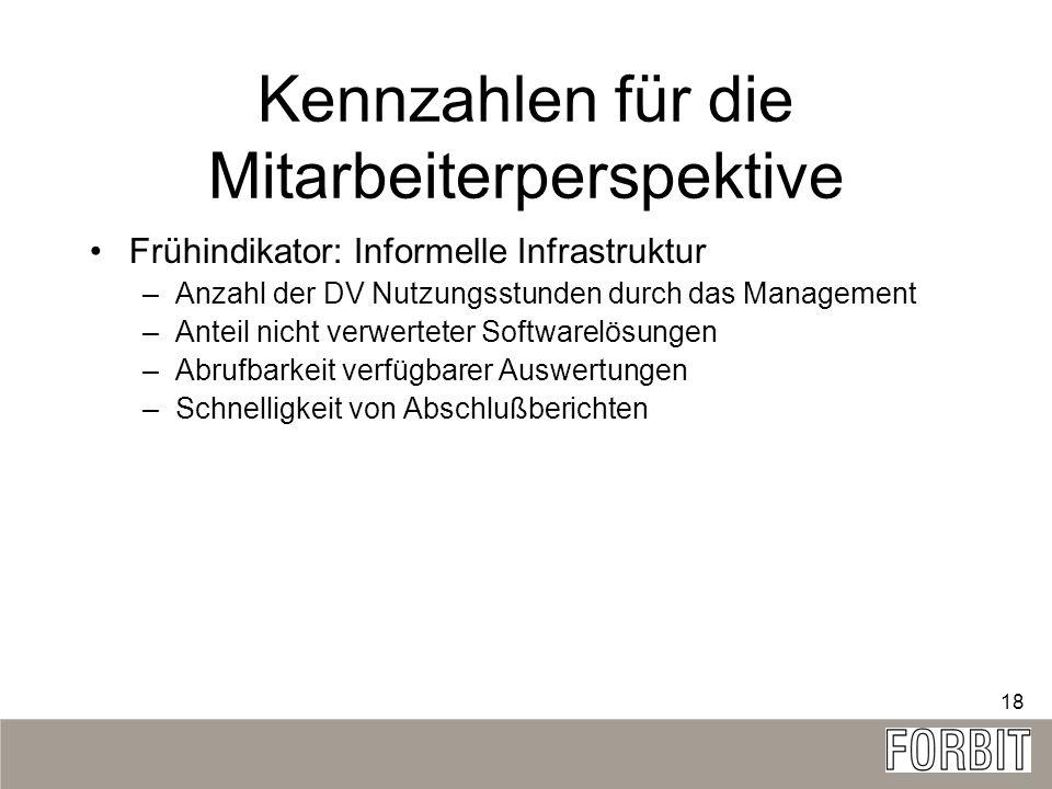 18 Kennzahlen für die Mitarbeiterperspektive Frühindikator: Informelle Infrastruktur –Anzahl der DV Nutzungsstunden durch das Management –Anteil nicht