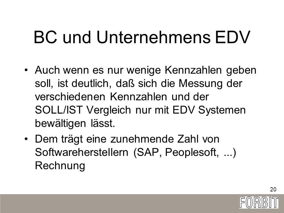 20 BC und Unternehmens EDV Auch wenn es nur wenige Kennzahlen geben soll, ist deutlich, daß sich die Messung der verschiedenen Kennzahlen und der SOLL
