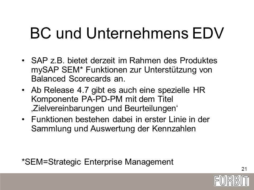 21 BC und Unternehmens EDV SAP z.B. bietet derzeit im Rahmen des Produktes mySAP SEM* Funktionen zur Unterstützung von Balanced Scorecards an. Ab Rele