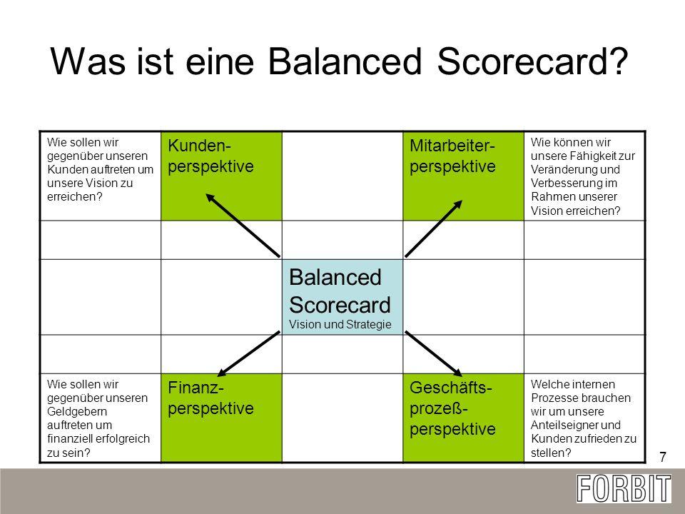 7 Was ist eine Balanced Scorecard? Wie sollen wir gegenüber unseren Kunden auftreten um unsere Vision zu erreichen? Kunden- perspektive Mitarbeiter- p