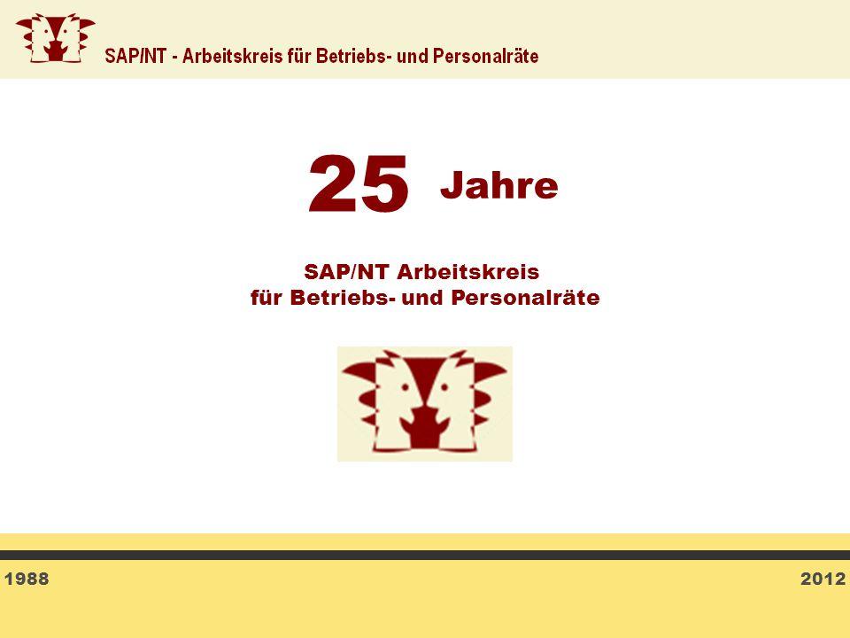 1988 2012 SAP/NT Arbeitskreis für Betriebs- und Personalräte 25 Jahre
