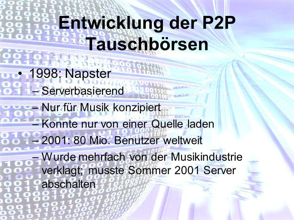 Entwicklung der P2P Tauschbörsen 1998: Napster –Serverbasierend –Nur für Musik konzipiert –Konnte nur von einer Quelle laden –2001: 80 Mio. Benutzer w