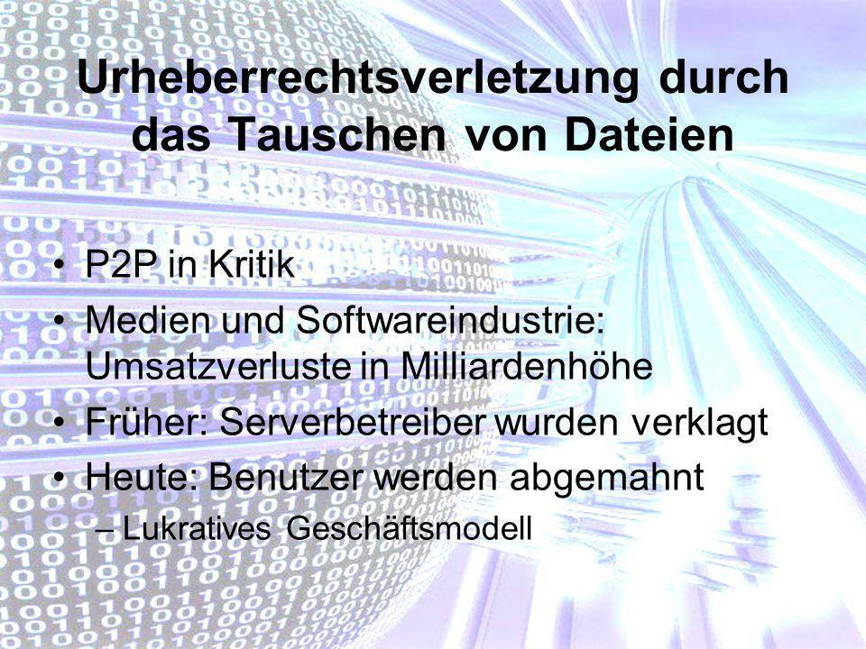 Urheberrechtsverletzung durch das Tauschen von Dateien P2P in Kritik Medien und Softwareindustrie: Umsatzverluste in Milliardenhöhe Früher: Serverbetr