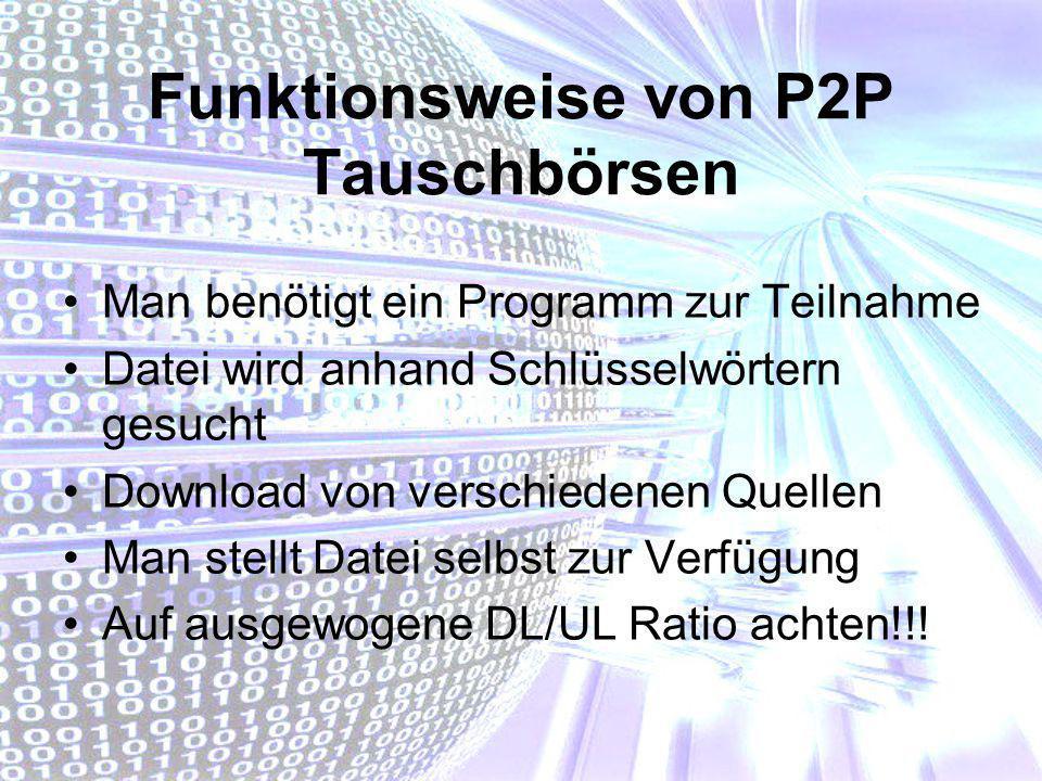 Funktionsweise von P2P Tauschbörsen Man benötigt ein Programm zur Teilnahme Datei wird anhand Schlüsselwörtern gesucht Download von verschiedenen Quel