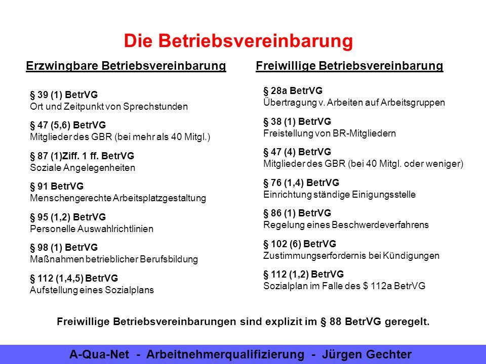 A-Qua-Net - Arbeitnehmerqualifizierung - Jürgen Gechter Die Betriebsvereinbarung § 39 (1) BetrVG Ort und Zeitpunkt von Sprechstunden Erzwingbare Betri