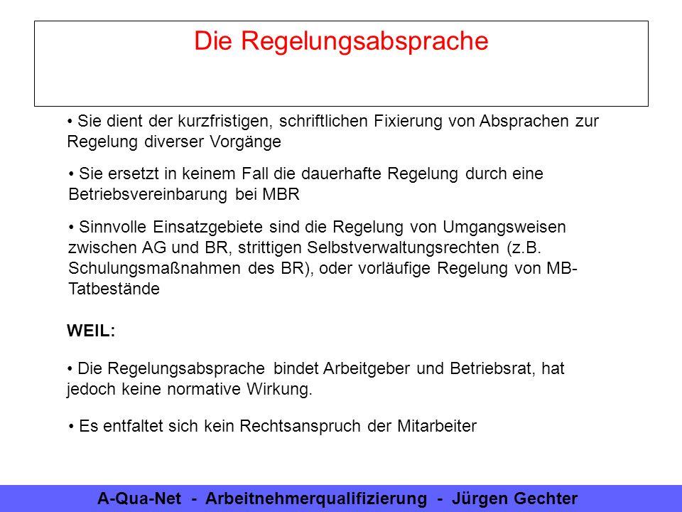 A-Qua-Net - Arbeitnehmerqualifizierung - Jürgen Gechter Die Regelungsabsprache Sie dient der kurzfristigen, schriftlichen Fixierung von Absprachen zur