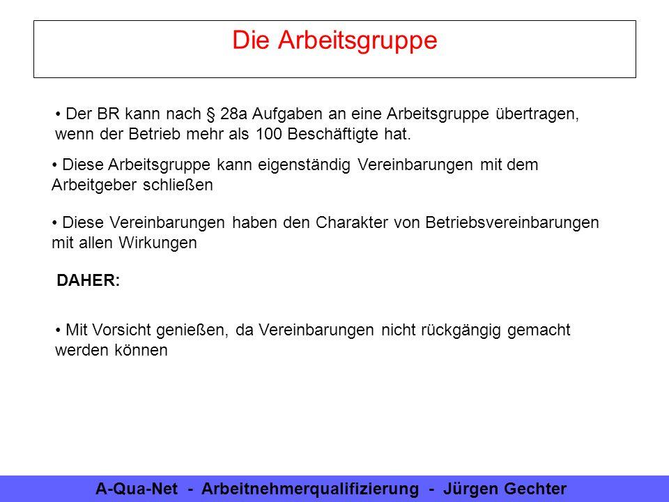 A-Qua-Net - Arbeitnehmerqualifizierung - Jürgen Gechter Die Arbeitsgruppe Der BR kann nach § 28a Aufgaben an eine Arbeitsgruppe übertragen, wenn der B