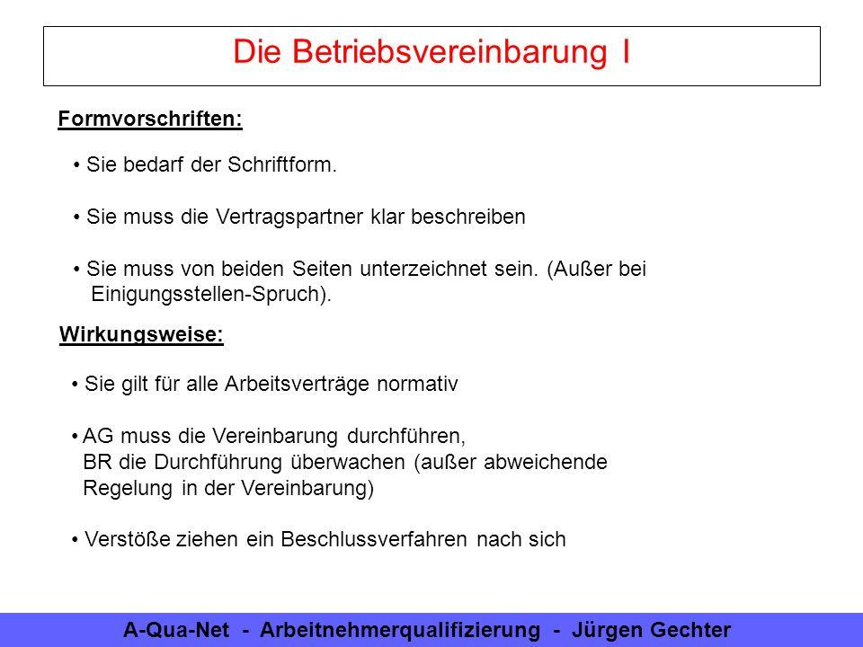 A-Qua-Net - Arbeitnehmerqualifizierung - Jürgen Gechter Die Betriebsvereinbarung I Sie bedarf der Schriftform. Sie muss die Vertragspartner klar besch