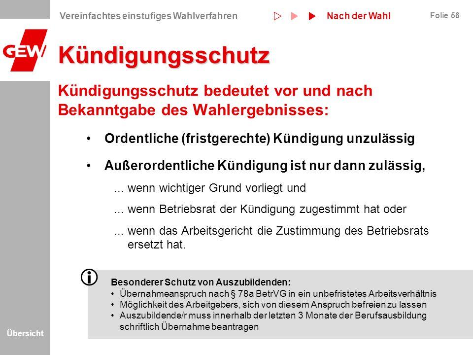 Übersicht Folie 56 Kündigungsschutz Kündigungsschutz bedeutet vor und nach Bekanntgabe des Wahlergebnisses: Ordentliche (fristgerechte) Kündigung unzu
