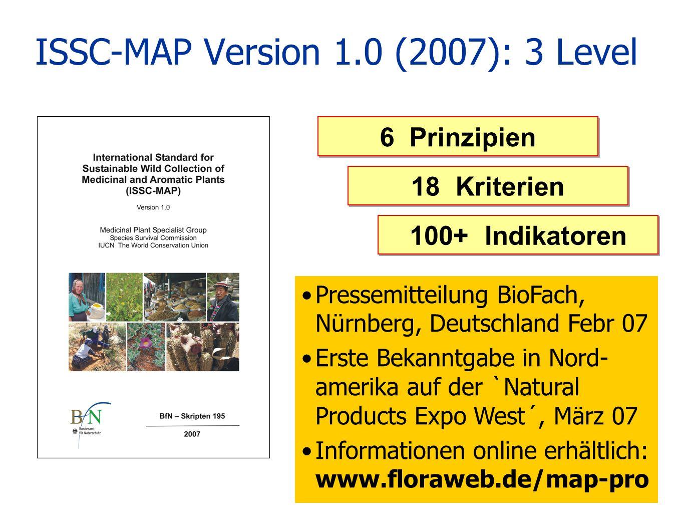 ISSC-MAP Version 1.0 (2007): 3 Level 6 Prinzipien 18 Kriterien 100+ Indikatoren Pressemitteilung BioFach, Nürnberg, Deutschland Febr 07 Erste Bekanntg
