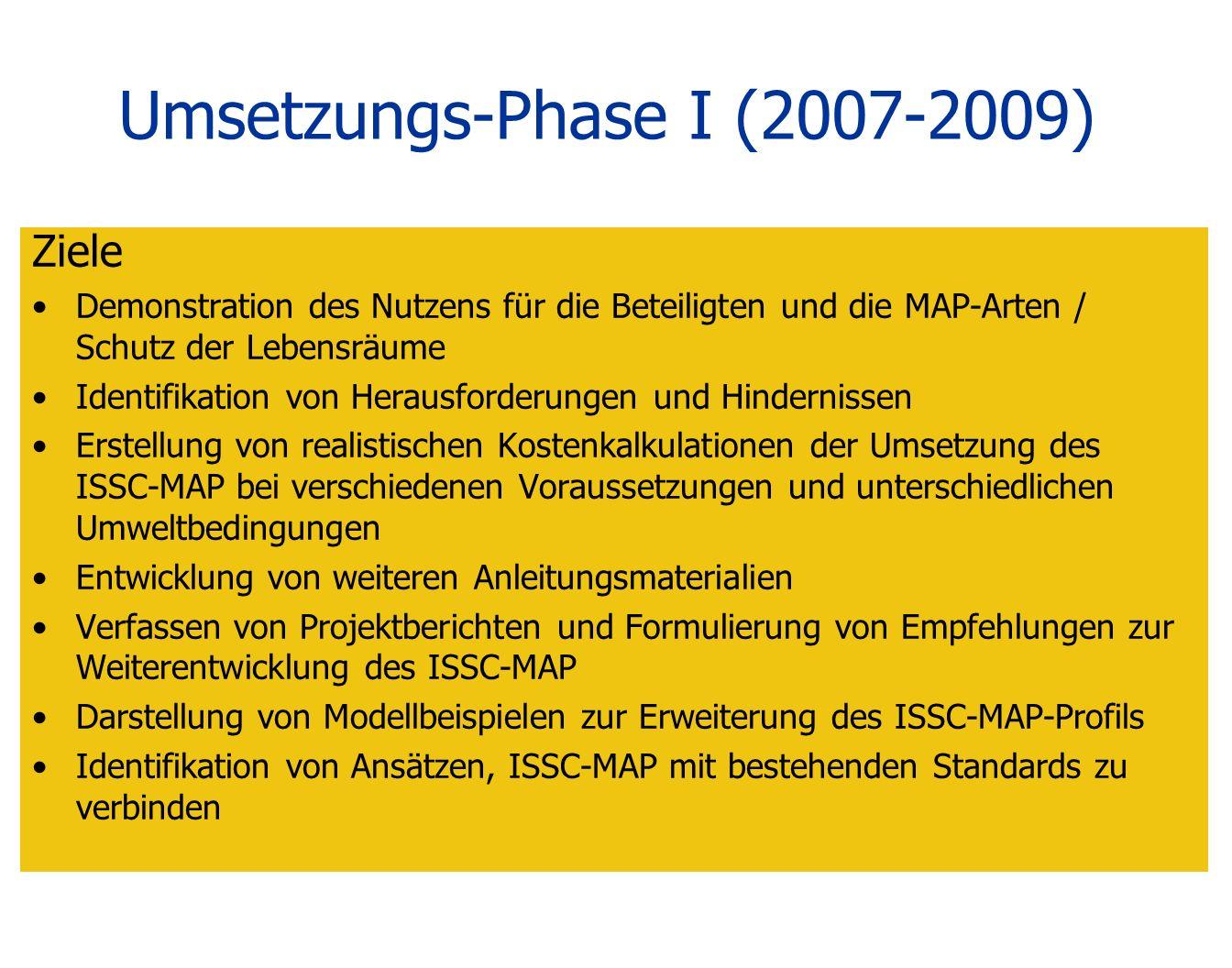 Umsetzungs-Phase I (2007-2009) Ziele Demonstration des Nutzens für die Beteiligten und die MAP-Arten / Schutz der Lebensräume Identifikation von Herau