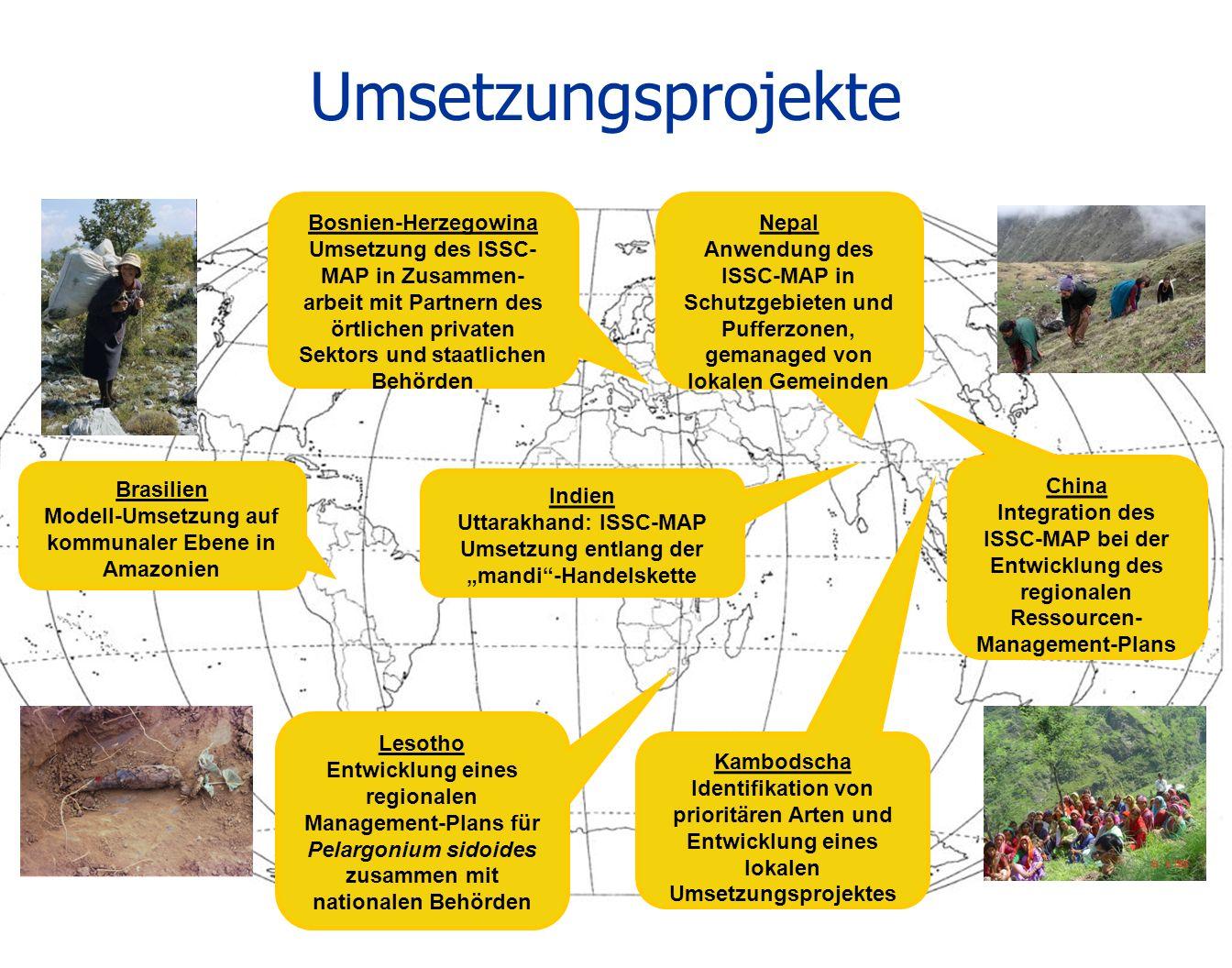 Umsetzungsprojekte Brasilien Modell-Umsetzung auf kommunaler Ebene in Amazonien Nepal Anwendung des ISSC-MAP in Schutzgebieten und Pufferzonen, gemana