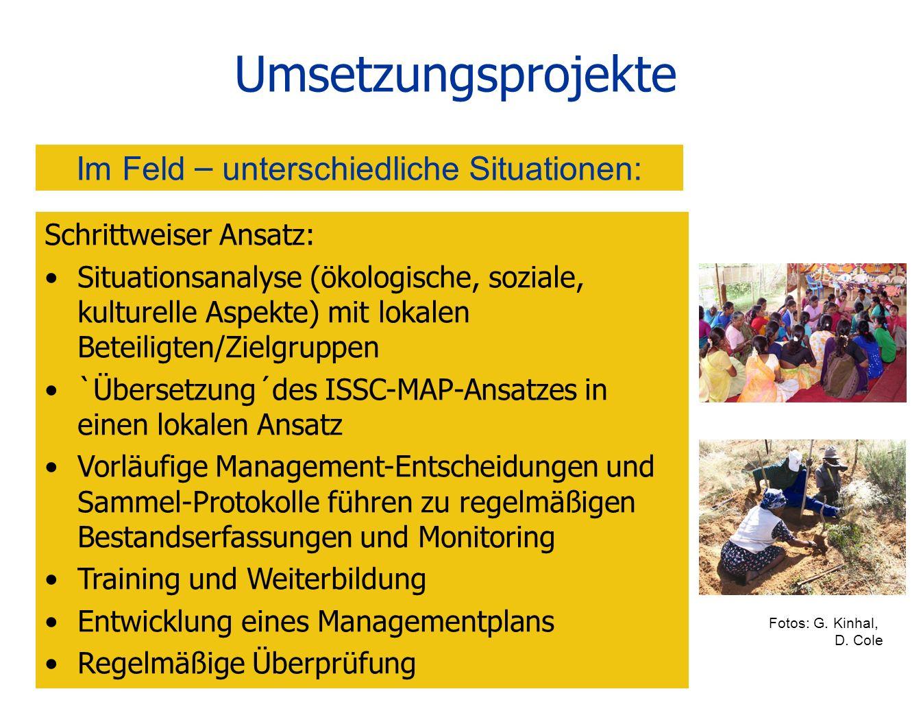 Umsetzungsprojekte Schrittweiser Ansatz: Situationsanalyse (ökologische, soziale, kulturelle Aspekte) mit lokalen Beteiligten/Zielgruppen `Übersetzung